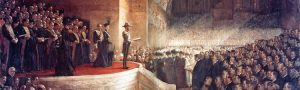 The Opening of the First Parliament of the Commonwealth of Australia by H.R.H. The Duke of Cornwall and York (later H.M. King George V) at the Royal Exhibition Building in Melbourne on 9 May 1901. (Painting by Tom Roberts, 1903)