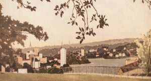 Cressida Campbell, 'West of Observatory Hill', (detail), 1989, woodblock print, 60 x 121cm