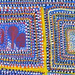 Loongkoonan,  Nyikina people, Western Australia, Bush Tucker in Nyikina Country, 2005, acrylic on linen, 61 x 61cm. Courtesy the artist and Mossenson Galleries, Perth