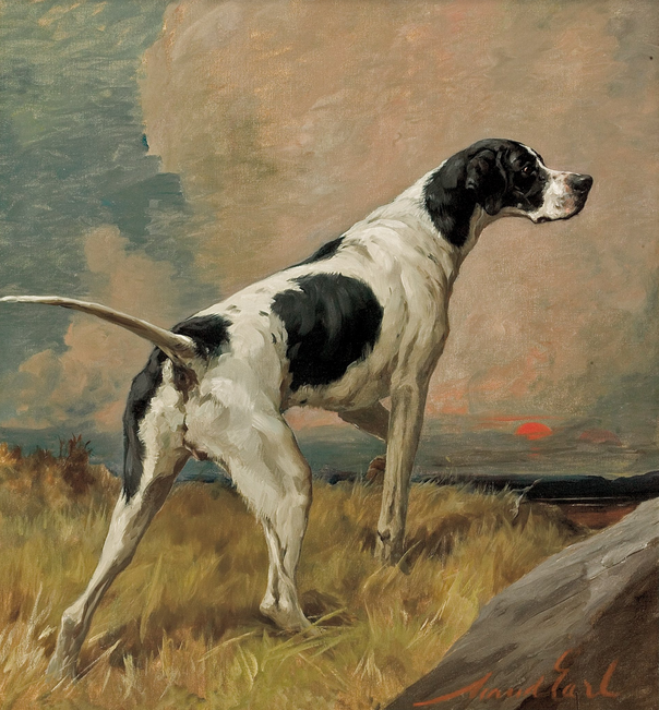 Maude Earl, Pointer at sunset, c.1900, England, oil on canvas.