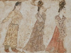 Mural of females c710 (detail) excavated from the tomb of Li Chongjun, Prince Jiemin, in Fuping, Weinan, 1995 Shaanxi Provincial Institute of Archaeology