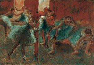Edgar Degas, Dancers at a rehearsal (Danseuses au foyer) 1895–98, oil on canvas, 70.0 x 100.0 cm Lemoisne 1200, Von der Heydt-Museum, Wuppertal Gift of Dr Eduard Freiherr von der Heydt, Ascona, 1961 (G 1046)