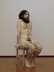 Ron Mueck     'Wild man' 2005 mixed media 285 x 161.9 x 108 cm ARTIST ROOMS, acquired jointly with the National Galleries of Scotland through The d'Offay Donation with assistance from the National Heritage Memorial Fund and the Art Fund 2008 © Ron Mueck Photo: Tate/NPG Scotland, Marcus Leith