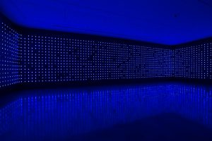 Tatsuo Miyajima, Mega Death, 1999/2016, installation view, Tatsuo Miyajima: Connect with Everything, Museum of Contemporary Art Australia, 2016, LED, IC, electric wire, infrared sensor, Domus Collection, image courtesy and © the artist, photograph: Alex Davies