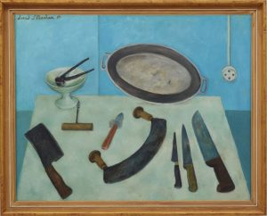 David Strachan, Batterie de Cuisine, 1956, oil on hardboard, 73 x 91.8cm. Art Gallery of New South Wales – Gift of the Lane Cove Art Society 1973