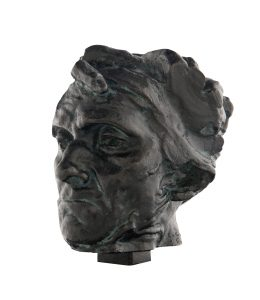 Auguste Rodin, France, 1840–1917, Andrieu d'Andres, head of the reduction, with fragments of the hand, c.1885, (E. Godard Foundry, cast 1985), Paris, bronze, 4.0 x 6.4 x 6.8 cm, William Bowmore AO OBE Collection. Gift of the South Australian Government, assisted by the Art Gallery of South Australia Foundation 1996,  Art Gallery of South Australia, Adelaide