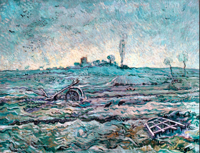 Vincent Van Gogh, Snow-covered field with a harrow (1890)