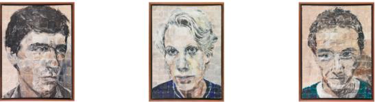 Jenny Watson's Go-Betweens portraits, 'Robert, Linda, Grant' (1981)