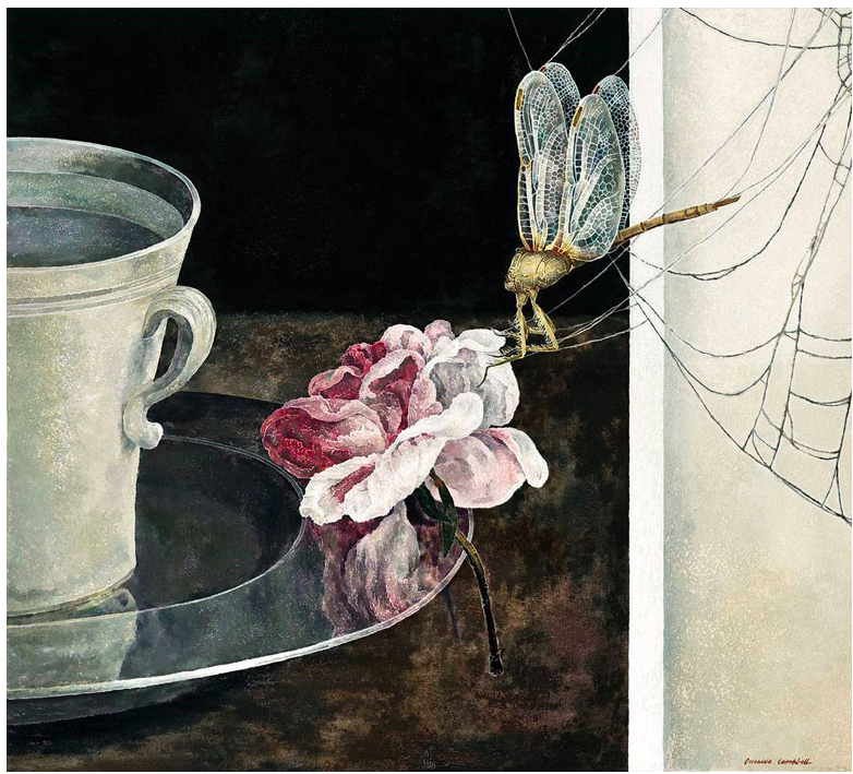 Cressida Campbell, Still life with dragonfly,(detail) 2016-17