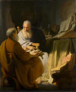 Rembrandt, 'Two old men disputing' (1618)