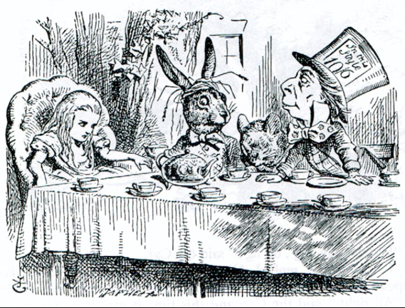 The Mad Hatter's Tea Party. The John Tenniel illustration of 1865