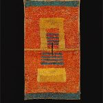 ICA-CHINCHA culture South coast 1100 – 1476 AD Tabard [Feather poncho, with red, yellow and blue feathers in a highly abstract, possibly heraldic, design] c. 1300 AD feathers and cotton , sown  142.0 (h) x 80.2 (w) cm National Gallery of Australia, Canberra NGA 1981.1924 Purchased 1981