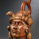 Moche culture, portrait head stirrup vessel, ceramic, AD 100-800. From the exhibition Gold and the Incas: Lost Worlds of Peru. Source: Supplied