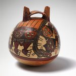 NAZCA culture South coast 100 – 700 AD Vessel with feline deity 200–400 AD ceramic  17.2 (h) cm 15.4 cm (diameter) National Gallery of Australia, Canberra NGA 1984.3045 Purchased 1984