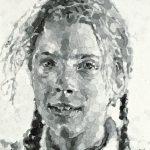 Chuck Close, Georgia , 1985. pulp paper on canvas, 96 x 72