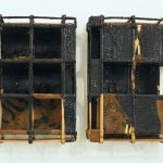 Sopheap Pich, Double Relief (black). Bamboo, rattan, wire, bees wax, damar resin, charcoal. Each 8.5 x 40.5 x 11cm, 2015. Courtesy of the artist and Tyler Rollins Fine Art