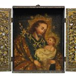 Japan, Portable altarpiece, with devotional image, late 16th–early 17th centuries, wood, urushi lacquer, gold lacquer, mother-of-pearl and gilt copper (fittings), pigment on wood (painting), 37.5 x 29.2 x 5.1 cm, Museu do Oriente/Fundação Oriente, Lisbon, Portugal, photo: Hugo Maertens/BNP Paribas  FO/0636