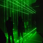 Li Hui, Cage, 2006-2014, green iodide lasers, fog machines, dimensions variable (with viewers)